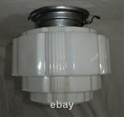 ANTIQUE ART DECO CHANDELIER FLUSH MOUNT CEILING FIXTURE GLASS SHADE 1930's