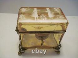 ANTIQUE BOHEMIAN AMBER GLASS CASKET BOX Moser - Mary Gregory Design