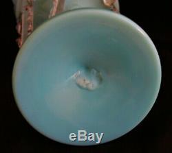 ANTIQUE BOHEMIAN BLUE TURQUOISE OPALINE ENAMELED GOLD MANTLE LUSTRE WithPRISMS