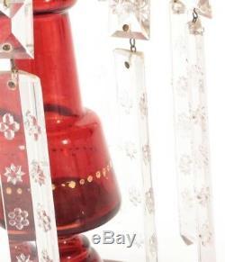 ANTIQUE CRANBERRY MANTLE LUSTRES & PRISMS Art Glass 19th Century