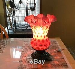 ANTIQUE FENTON COIN DOT LAMP Cranberry, Metal Base, 11 1/2 Inches, Spot
