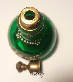ANTIQUE GREEN ART GLASS PERFUME BOTTLE Victorian Powder AVQ PATD. JULY 3 1900