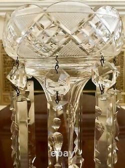 ANTIQUE MOSER BOHEMIAN 12CRYSTAL GLASS LUSTER. CANDLE HOLDER With 9 SPEAR PRISMS