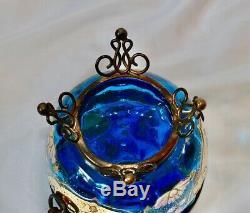 ANTIQUE MOSER TEAL GLASS FOOTED DRESSER BOX Rare Enamel STUNNER