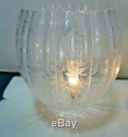 ANTIQUE VICTORIAN ART NOUVEAU ACID ETCHED GLASS OIL LAMP SHADES 19th CENTURY