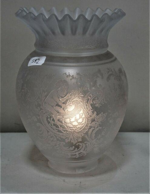 Antique Victorian Art Nouveau Heavy Etched Glass Oil Lamp Shades 19th C