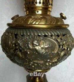 ANTIQUE VICTORIAN BRASS ORNATE BANQUET LAMP withHAND PAINTED ROSES SHADE