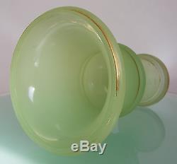 ANTIQUE VICTORIAN FRENCH OPALINE MILK VASELINE GLASS CELERY VASE 19th c1880