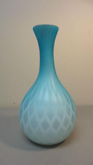 Antique Victorian Period Blue Mop Diamond Quilted Satin Cased Glass Vase, 1880s