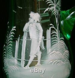 ANTIQUE VICTORIAN PITCHER JUG MARY GREGORY GREEN VASELINE GLASS 19th ART NOUVEAU