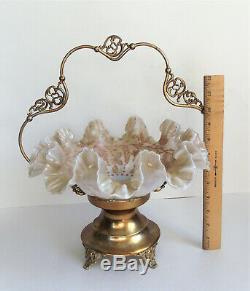 ANTIQUE Victorian OPALESCENT ENAMEL Pink Art Glass BRIDES BASKET BOWL Gold Stand