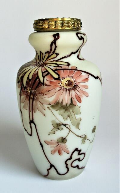 Antique Victorian Wavecrest Pink Chrysanthemum Vase Painted Art Glass C F Monroe