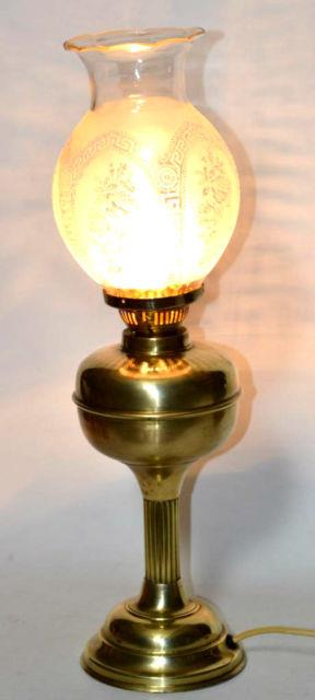 Art Deco Brass Oil Lamp Converted Table Lamp Etched Glass Shade Pl2884