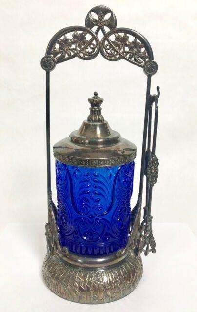 Acme Silver Co Pickle Castor Cobalt Blue Upm Mma Glass Jar