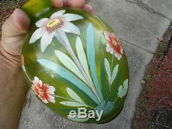 Amazing Victorian / art nouveau enamel glass vase loetz bohemian period vase
