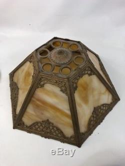 Antique 1920's Art Nouveau Slag Stained Glass Table Lamp