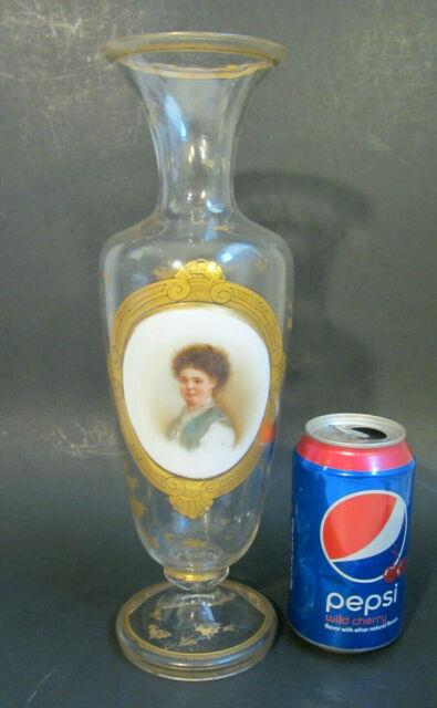 Antique 19c Bohemian Moser Art Glass 12 Hand Painted Portrait Gold Footed Vase