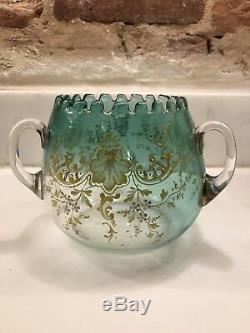 Antique 19th C Victorian Art Glass Vase Enameled Bohemian LOETZ