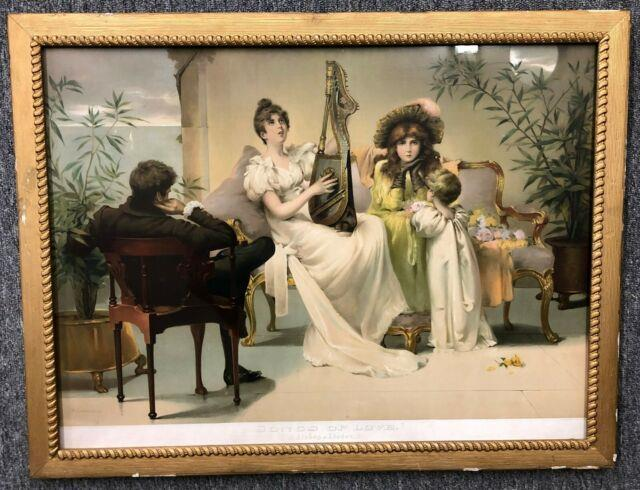 Antique 26 Wavy Glass Framed Goodman 1882 Songs Of Love Chromolithograph Print