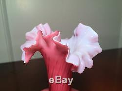 Antique 6.5 Pink Mother Of Pearl Diamond Quilted Cased Ruffled Satin Glass Vase