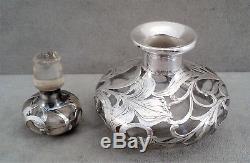 Antique ALVIN STERLING Silver Overlay PERFUME BOTTLE Art Nouveau VICTORIAN 4.5