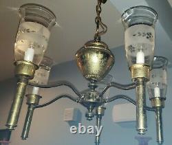 Antique Art Deco 5 Arm Light Fixture Chandelier ORIGINAL Etched Glass Shades