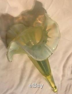 Antique Art Glass Epergne Horn with Ribbed Vaseline Glass