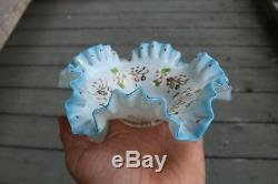 Antique Art Glass Small Ruffled Brides Basket Handpainted Jewelry Bowl Victorian