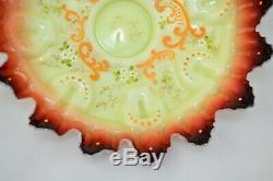 Antique Art Glass Victorian Brides Basket Bowl Hand Painted Floral