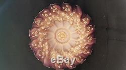 Antique Art Glass Victorian Enameled Brides Bowl Large 14.50 D Hand Blown