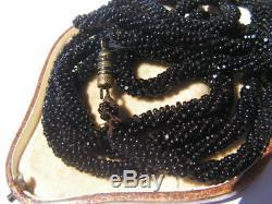 Antique Art Nouveau Deco Victorian Gothic Black Glass French Jet Bead Necklace