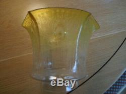 Antique Art Nouveau Glass Oil Lamp Shade, Tulip Shape, Peacock'Eye' Decoration