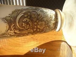Antique Art Nouveau Glass Vase Mont Joye 13 Chipped Ice Cameo Legras France