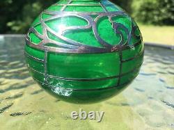 Antique Art Nouveau Silver Overlay on Green Glass Perfume Bottle
