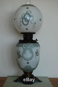 Antique Art Nouveau Victorian Oil Kerosene Ribbon Bow Wreath Blue Glass Lamp