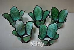 Antique Arts & Crafts, Victorian, Art Nouveau Slag Glass Lamp Shades, Chandelier