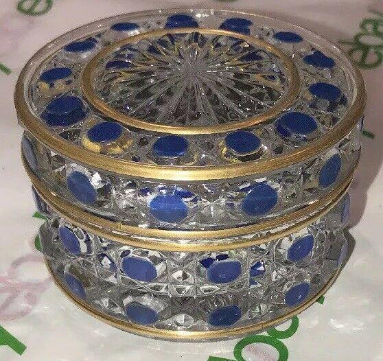 Antique Baccarat Diamants Pierreries Hobnail Blue 2x3 Small Jar 1800s