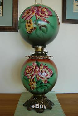 Antique Banquet Victorian Oil Kerosene Hand Painted Floral Art Nouveau Gwtw Lamp