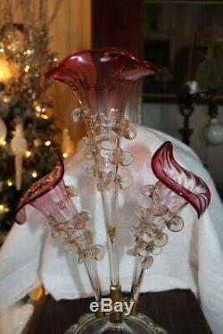 Antique Beautiful 19th Century Victorian Cranberry & Clear Glass Epergne 3 Horn