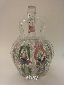 Antique Blown Glass Gilt & Enamel Moser Decanter, Pitcher With Applied Handles