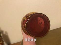 Antique Bohemian Cranberry Glass Lady Portrait Vase Gold and multi colors (chip)