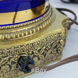 Antique Bohemian Czech Cobalt Blue Enamel Flower Electric Glass Mantle Lusters