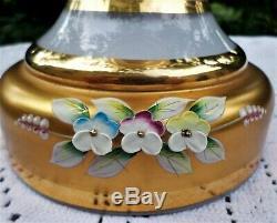 Antique Bohemian Czech Moser Glass Mantle Lustres Lusters Gilded Raised Enamel