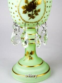 Antique Bohemian Green Cased Glass Mantle Luster Hand Painted Gold Encrusted 14