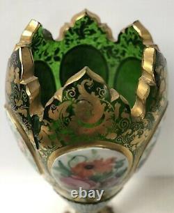 Antique Bohemian Green Glass Vase