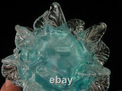 Antique Bohemian Harrach Applied Blue Opalescent Art Glass Floriform Vase