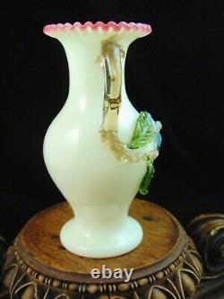 Antique Bohemian Harrach Art Glass Vase with Applied Blue Flower & Thorn Handle