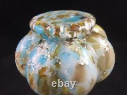 Antique Bohemian Harrach Cased Spatter Mica Spangle 6 5/8 Art Glass Vase 1890s