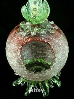 Antique Bohemian Loetz Rubina / Vaseline Pele Mele Floriform Art Glass Vase