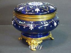 Antique Bohemian Moser Cobalt Blue Enameled Art Glass Footed Trinket Box 5 Rare